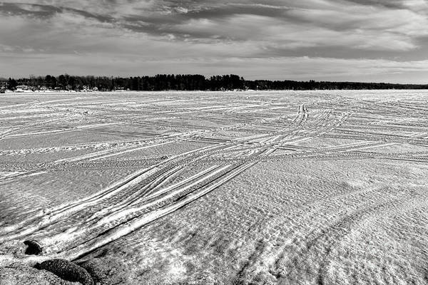 Photograph - Snowmobile Tracks On China Lake by Olivier Le Queinec