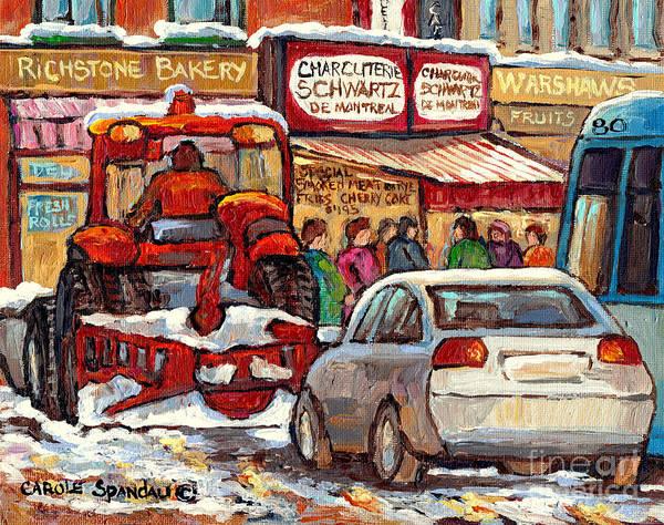 Painting - Snowplow Winter Scene Painting For Sale 80 Bus To Schwartz Deli C Spandau Richstone Warshaw Art      by Carole Spandau