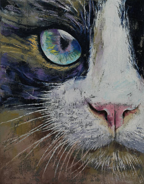 Looking Up Painting - Snowshoe Cat by Michael Creese