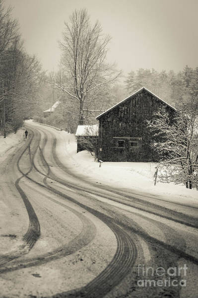 Backroad Wall Art - Photograph - Snowstorm Country Road New Hampshire by Edward Fielding