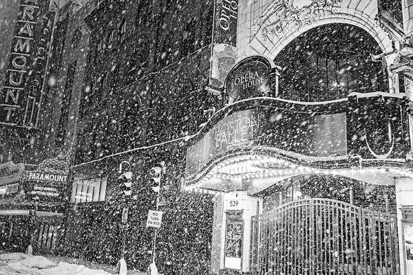 Photograph - Snowstorm In Boston Washington St Black And White by Toby McGuire