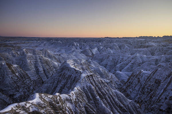 Photograph - Snowy Badlands by Aaron J Groen