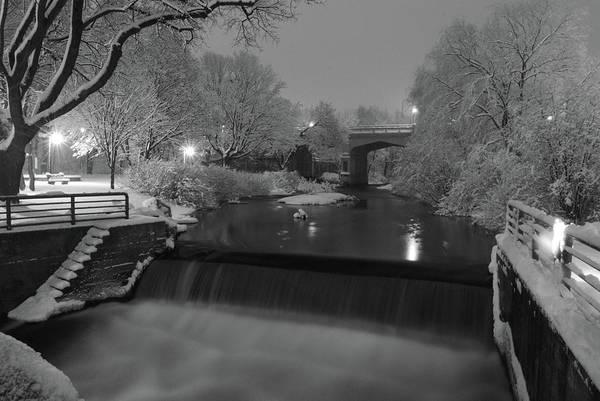 Snowy Bear River Art Print