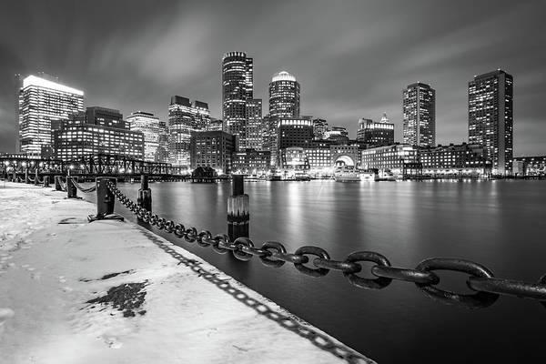 Photograph - Snowy Boston Harbor And Skyline by Kristen Wilkinson