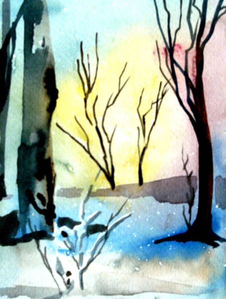 Snow Bank Painting - Snowy Branches by Mindy Newman