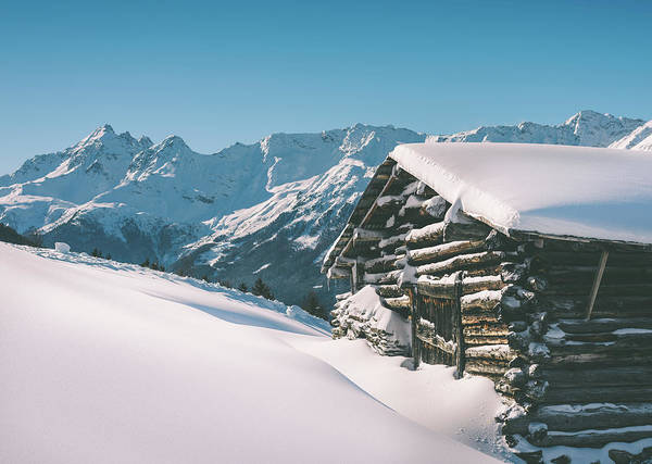 Photograph - Snowy Cabin In Italian Alps by Alexandre Rotenberg