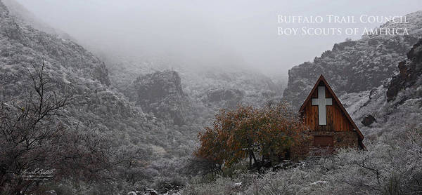 Texas Ranch Photograph - Snowy Chapel by Aaron Bedell