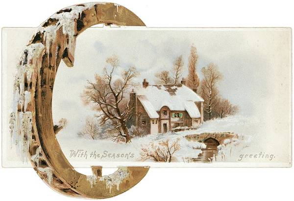 Snowy Cottage Landscape With Wooden Art Print by Gillham Studios
