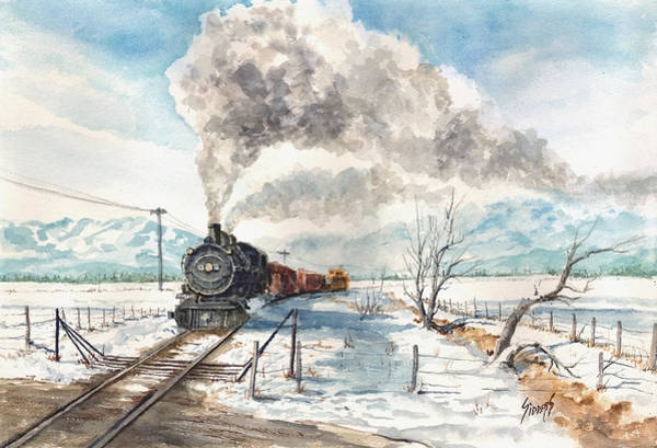 Winter Wall Art - Painting - Snowy Crossing by Sam Sidders