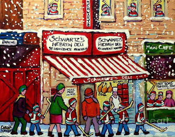 Painting - Snowy Day At Schwartz's Deli Montreal Winter City Scene Painting Hockey Art Carole Spandau           by Carole Spandau