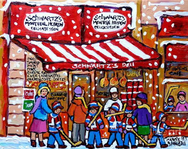 Painting - Snowy Day Rue St Laurent Montreal Winter Scene Schwartz Hockey Carolespandau                     by Carole Spandau
