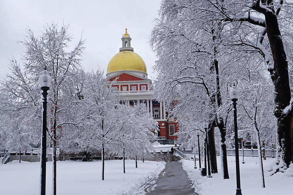 Photograph - Snowy Day On The Boston Common State House Boston Ma by Toby McGuire