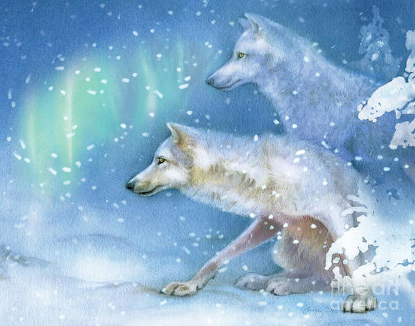 Arctic Wolf Painting - Snowy Den Wolves by Tracy Herrmann