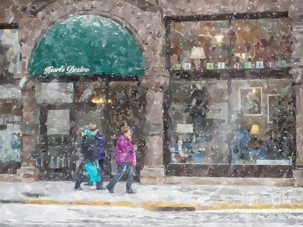 Photograph - Snowy Downtown Shopping Winona Minnesota by Kari Yearous