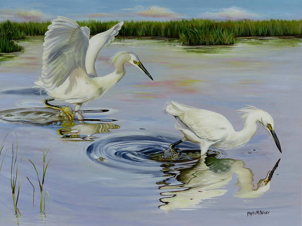 Wall Art - Painting - Snowy Egret Hunting Party by Phyllis Beiser