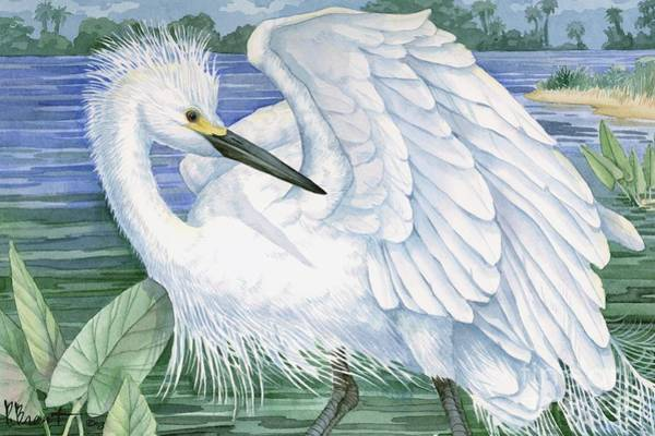 Driftwood Painting - Snowy Egret by Paul Brent