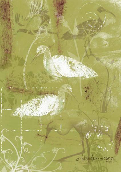 Egret Digital Art - Snowy Egrets by Arline Wagner
