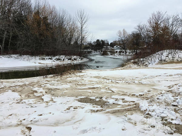 Snowy Elk Rapids River Art Print