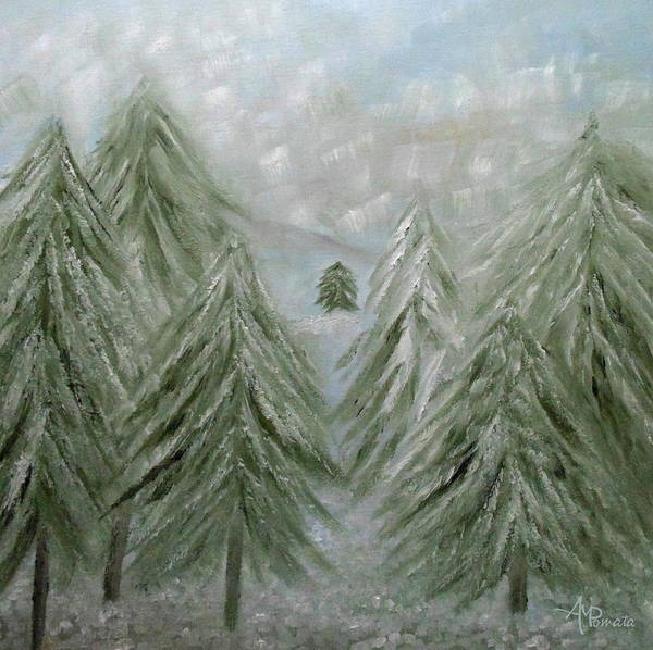 Painting - Snowy Forest by Angeles M Pomata