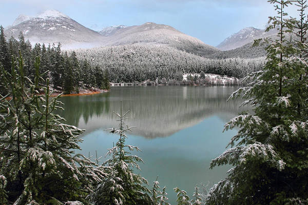 Whistler Photograph - Snowy Green Lake Sunset Whistler B.c Canada by Pierre Leclerc Photography