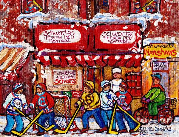 Painting - Snowy Hockey Game Schwartz's Deli Montreal Landmarks Winterscene Paintings For Sale C Spandau Artist by Carole Spandau