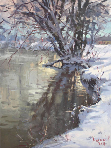 Wall Art - Painting - Snowy Hyde Park by Ylli Haruni