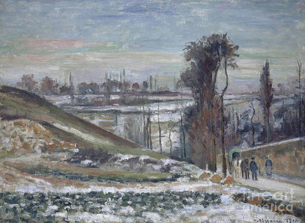 Wall Art - Painting - Snowy Landscape Near Le Hermitage, 1875 by Camille Pissarro