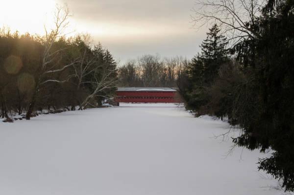 Photograph - Snowy Marsh Creek - Sachs Covered Bridge by Bill Cannon