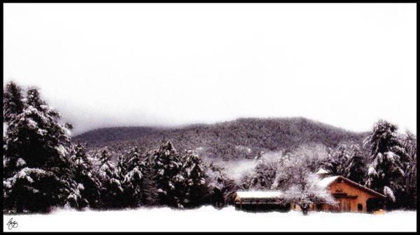 Photograph - Snowy Mist Over Horse Barn by Wayne King