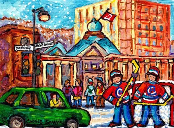 Painting - Snowy Montreal Winter Scene Mcgill Roddick Gates Hockey Game Canadian Painting Carole Spandau        by Carole Spandau