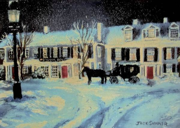 Wall Art - Painting - Snowy Night At The Inn by Jack Skinner