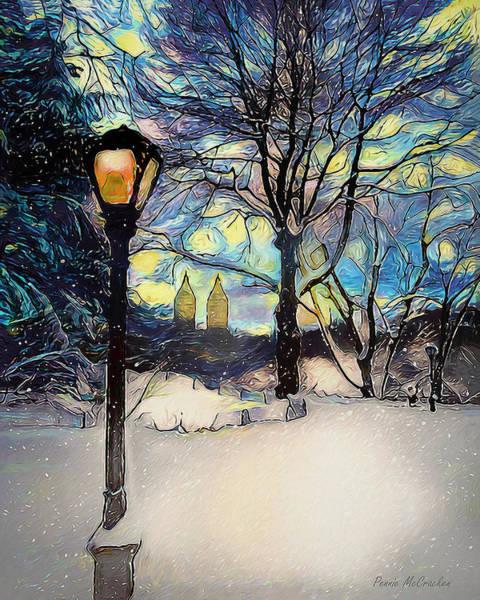 Digital Art - Snowy Night In New York by Pennie McCracken