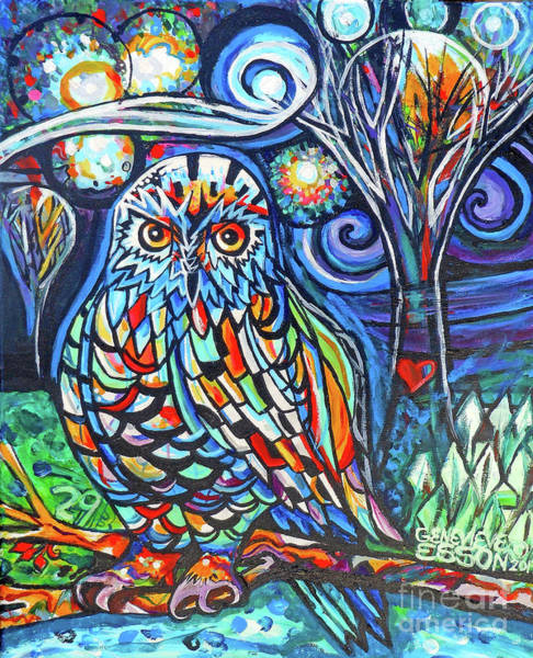 Snow Owl Painting - Snowy Owl Abstract With Moon by Genevieve Esson