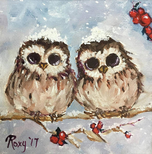 Flower Painting - Snowy Owl Chicks In A Holly Tree by Roxy Rich