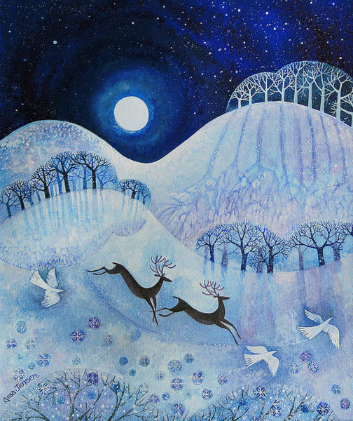 Full Moon Painting - Snowy Peace by Lisa Graa Jensen