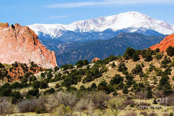 Photograph - Snowy Pikes Peak And Garden Of The Gods Park In Colorado Springs In Th by Steve Krull