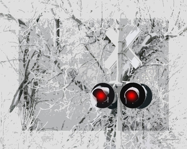 Snowy Red Light At Rr Crossing Art Print