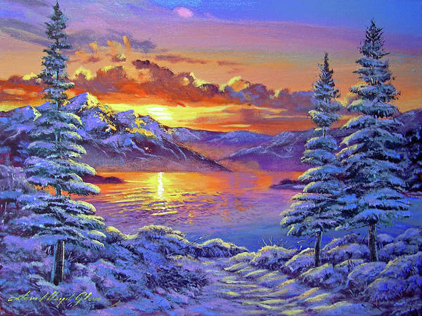 Painting - Snowy Road by David Lloyd Glover