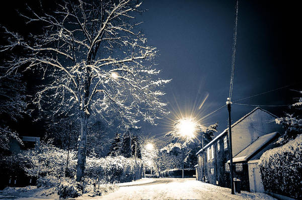 Photograph - Snowy Street Scene At Night, Hale Barns, Cheshire, Uk by Neil Alexander