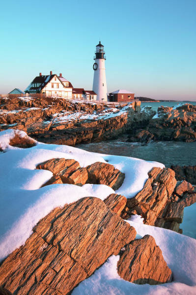 Wall Art - Photograph - Snowy Sunrise At Portland Head Lighthouse by Eric Gendron