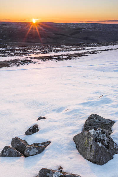 Northumbria Photograph - Snowy Sunset by David Taylor