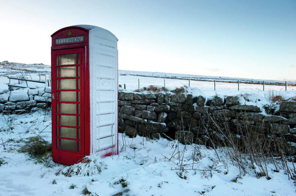 Snowy Telephone Box Art Print