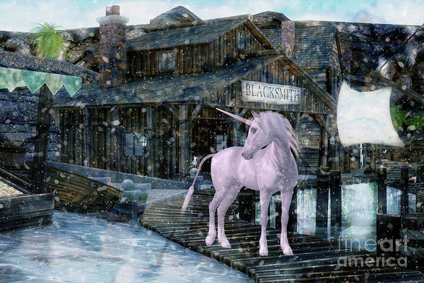 Digital Art - Snowy Unicorn by Digital Art Cafe