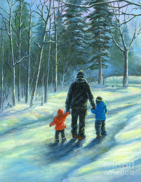 Wall Art - Painting - Snowy Walk With Dad Two Children by Vickie Wade