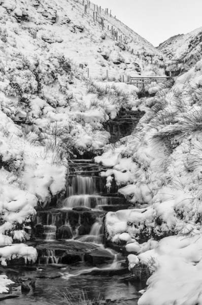 Photograph - Snowy Waterfall In The Peak District In Derbyshire by Neil Alexander