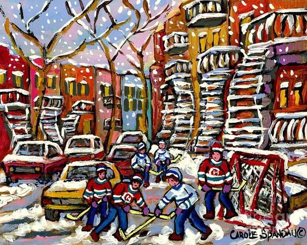 Painting - Snowy Winter Day Hockey Fun Near Montreal Winding Staircases Verdun City Scene Painting  by Carole Spandau