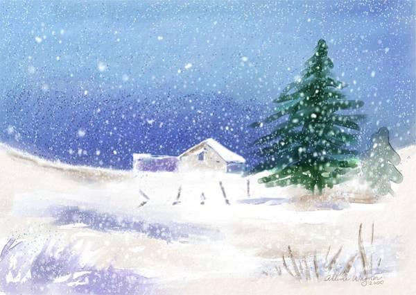Wall Art - Digital Art - Snowy Winter Scene by Arline Wagner