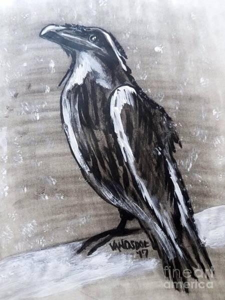 Magpies Drawing -  Snowy Winter Storm Crow - No Border by Scott D Van Osdol