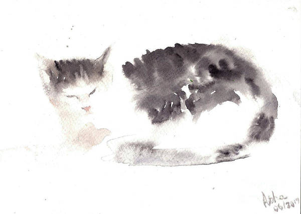Painting - Snuggling Cat by Asha Sudhaker Shenoy