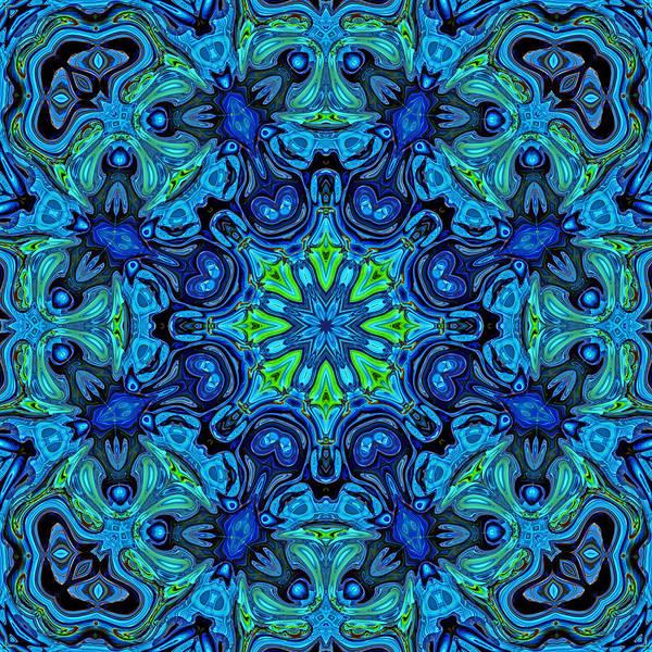 Symmetric Digital Art - So Blue - 04v2 - Mandala by Aimelle